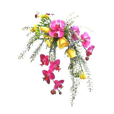 Ramo de novia de rosas y orquídeas