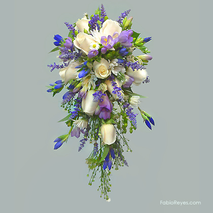 Ramo de novia inglés en azules y violetas